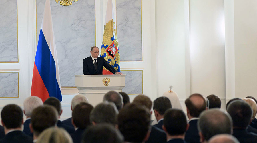 2750606 12/03/2015 December 3, 2015. Russian President Vladimir Putin delivers his annual Presidential Address to the Federal Assembly at the Kremlin's St. George Hall. Aleksey Nikolskyi/Sputnik
