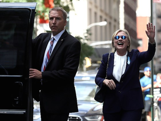 NEW YORK, NY - SEPTEMBER 11: Democratic presidental nominee former Secretary of State Hillary Clinton waves as she leaves the home of her daughter Chelsea Clinton on September 11, 2016 in New York City. Hillary Clinton left a September 11 Commemoration Ceremony early after feeling overheated and went to her daughters house to rest. (Photo by Justin Sullivan/Getty Images)