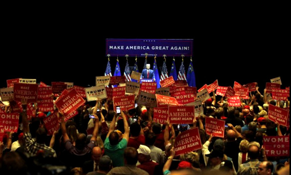 trump-make-america-great-again-rally-red-signs-dark