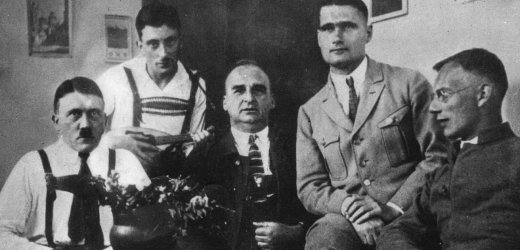 December 1924: Adolf Hitler (1889 - 1945) receives visitors, including Rudolf Hess (1894 - 1987), (second from right), during his imprisonment in Landsberg jail. (Photo by Topical Press Agency/Getty Images)