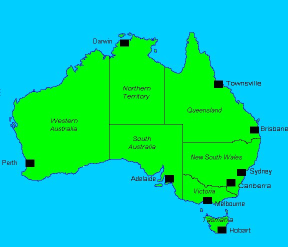 Map Australia Major Cities – Australia Map with States and Capital Cities