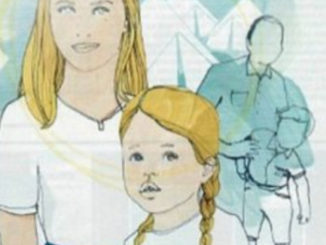 blond-mother-daughter-white-drawing