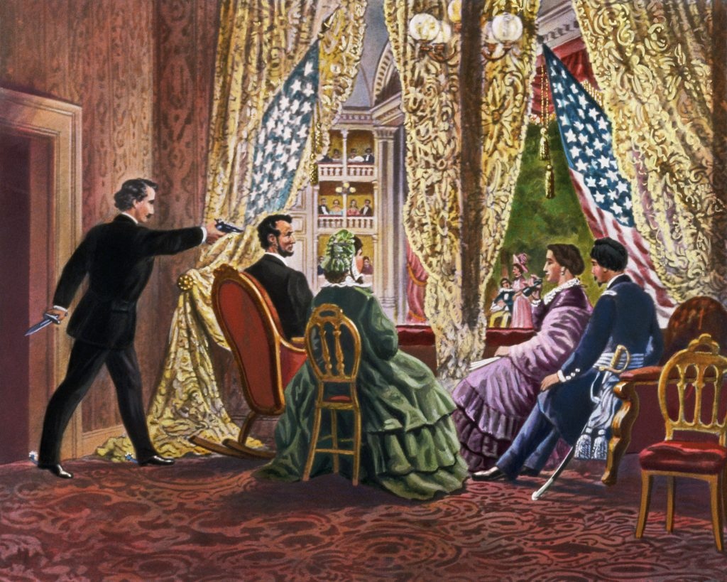 John Wilkes Booth leans forward to shoot President Abraham Lincoln as he watches a play at Ford's Theater in Washington, D.C, in 1865. --- Image by © Bettmann/CORBIS