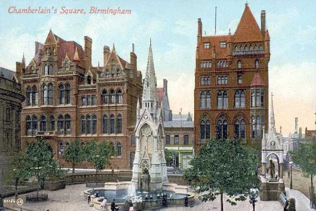 Gorgeous old buildings on on Chamberlain Square, Birmingham/England destroyed for hideous, cold NWO concrete monstrosities