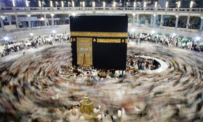 In this Wednesday, Jan. 13, 2016 photo, Muslim pilgrims circle the Kaaba, the cubic building at the Grand Mosque in the Muslim holy city of Mecca, Saudi Arabia during the minor pilgrimage, known as Umrah. (AP Photo/Amr Nabil)