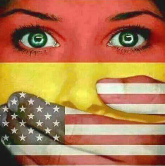 german-woman-flag-american-flag-hand-mouth
