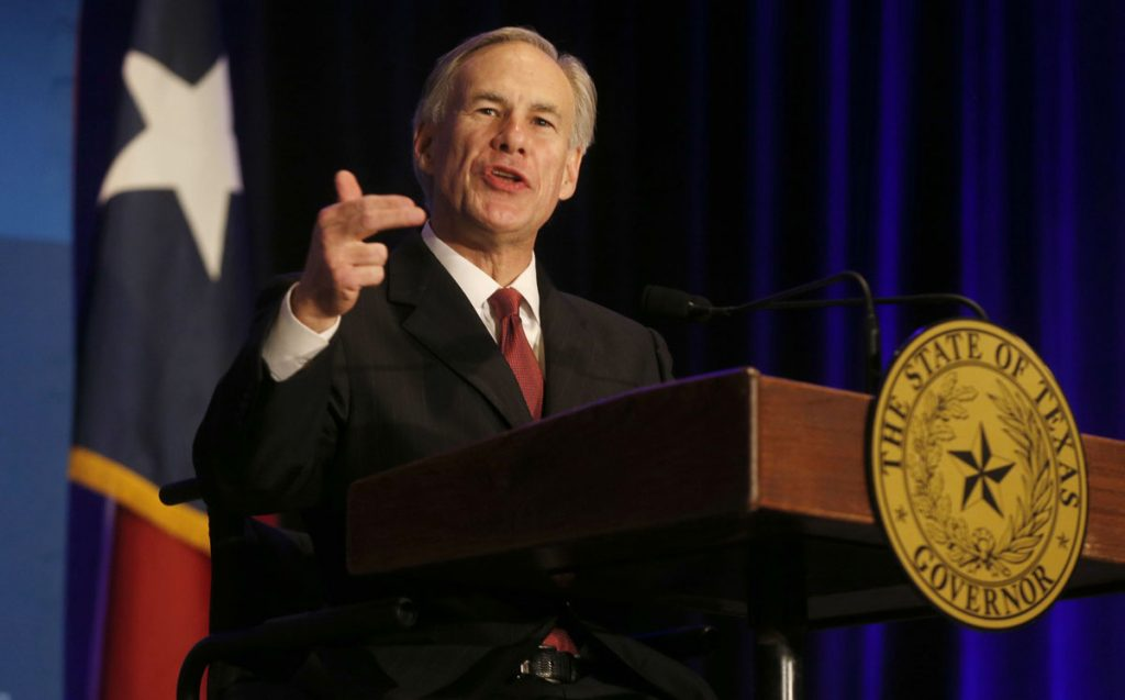 Texas Governor Greg Abbott speaks at the Dallas Regional Chamber at the Hyatt Regency Hotel on March 16, 2015.  He spoke on the 2015 State of the State. (Michael Ainsworth/The Dallas Morning News) 03182015xALDIA