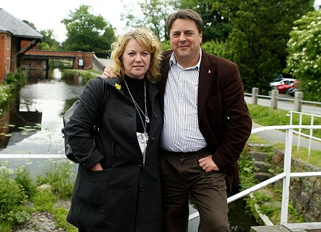 BNP leader Nick Griffin with his wife Jackie in Welshpool the day after his party's success in the European elections. PRESS ASSOCIATION Photo. Picture date: Monday June 8, 2009. See PA story POLITICS Election. Photo credit should read: Peter Byrne/PA Wire