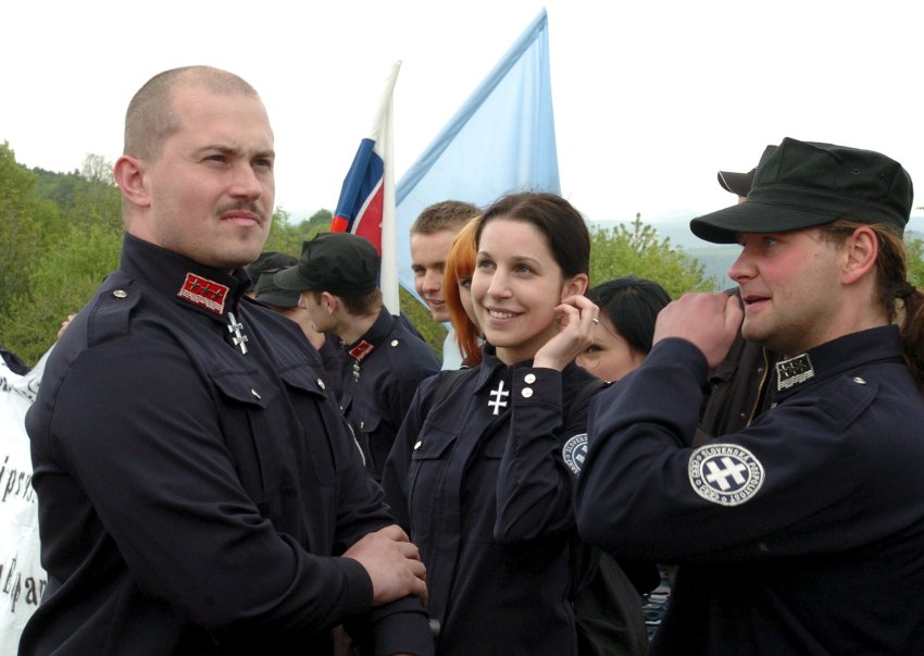 A leader of People's Party Our Slovakia (LS NS), Marian Kotleba, attends a commemoration of the 87th anniversary of the death of Slovak general Milan Rastislav Stefanik near the village of Brezova pod Bradlom, Slovakia, in this May 6, 2006 file photo. REUTERS/Radovan Stoklasa/Files - RTS9K7E