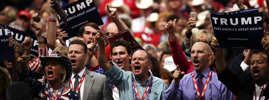 "CLEVELAND, OH - JULY 19: Delegates yell ""guilty"" as they participate during New Jersey Gov. Chris Christie's speech on the second day of the Republican National Convention on July 19, 2016 at the Quicken Loans Arena in Cleveland, Ohio. Republican presidential candidate Donald Trump received the number of votes needed to secure the party's nomination. An estimated 50,000 people are expected in Cleveland, including hundreds of protesters and members of the media. The four-day Republican National Convention kicked off on July 18. (Photo by Win McNamee/Getty Images)"