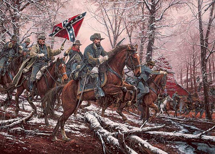 nathan-bedford-forrest-confederate-cavalry-charge-snowy-logs