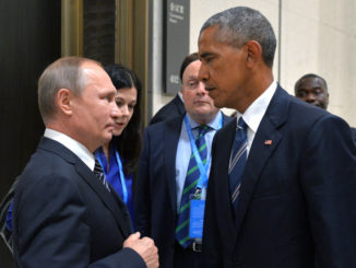 HANGZHOU, CHINA SEPTEMBER 5, 2016: Russia's President Vladimir Putin (L) and US President Barack Obama meet on the sidelines of the G20 summit. Alexei Druzhinin/Russian Presidential Press and Information Office/TASS (Photo by Alexei DruzhininTASS via Getty Images)
