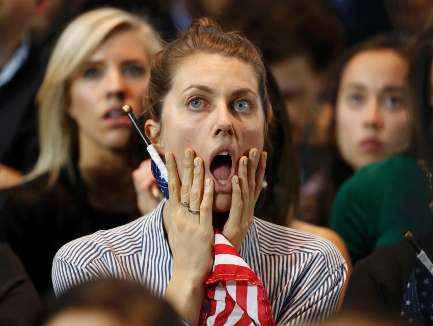 Supporters of U.S. Democratic presidential nominee Hillary Clinton react at her election night rally in Manhattan, New York, U.S., November 8, 2016. REUTERS/Lucas Jackson TPX IMAGES OF THE DAY